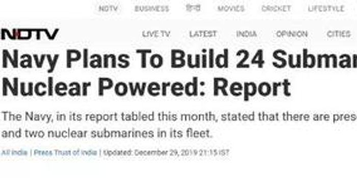印度计划建造6艘核潜艇 张召忠:这回准备下水几次