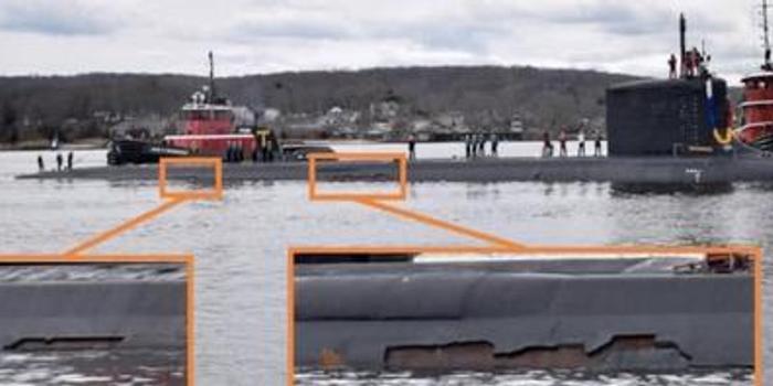 美军新核潜艇首次远航归来 隐身涂层大面积脱落(图)