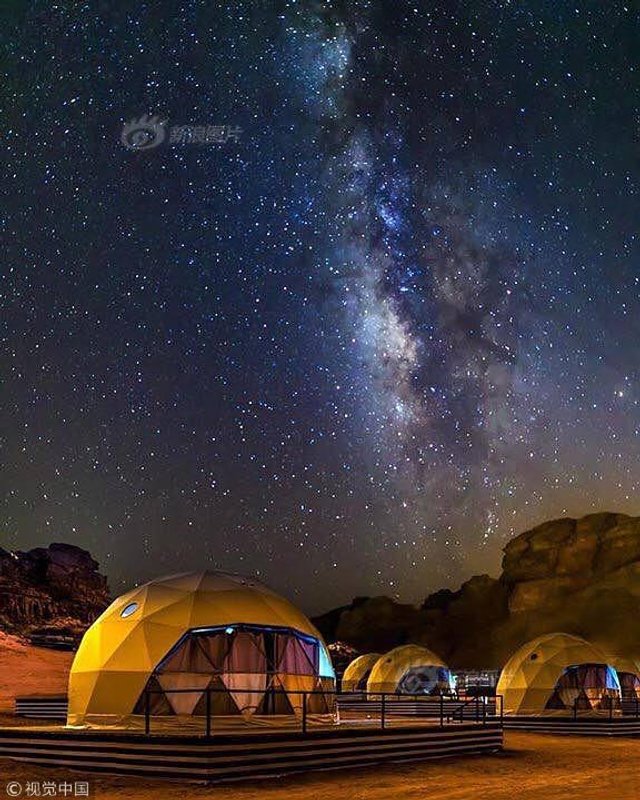 当地时间2018年10月9日,约旦瓦迪拉姆沙漠,太阳城营地旨在为人们提供火星生活的体验。