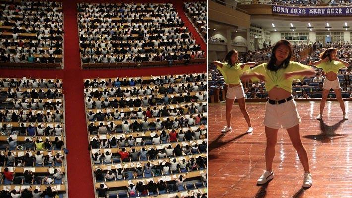 2千人上考研课 美女跳舞减压