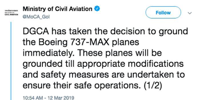 印度民航總局宣布禁飛波音737-8型客機