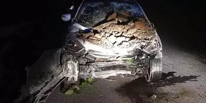 湖北民警出警救人途中遭遇落石 警車損毀三人受傷
