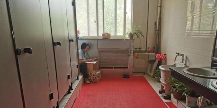 阿姨在公廁里被拍到這一幕 網友:肅然起敬(圖)