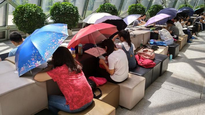烈日难挡 众人图书馆撑伞看书