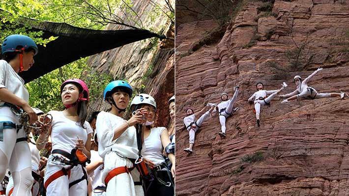 河南美女高空上踩钢丝练瑜伽