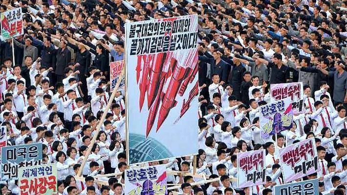 朝鲜平壤举行反美集会十万余人参加