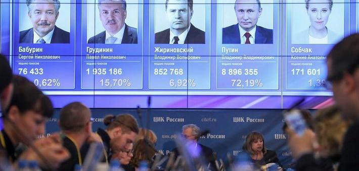 普京在首轮选举中胜出 得票率超75%