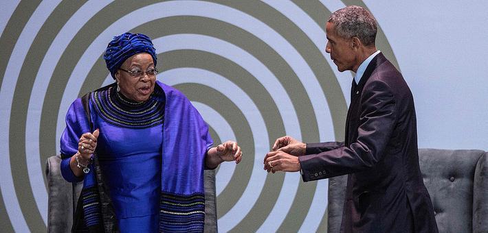 奥巴马与曼德拉遗孀共舞