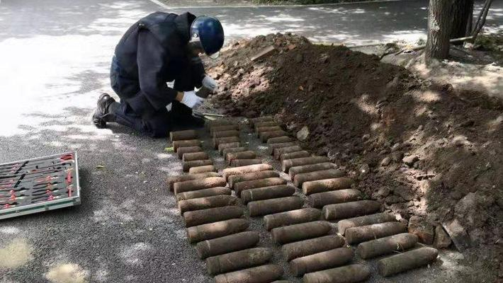 哈尔滨现56枚日伪时期炮弹