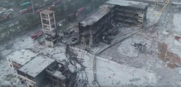 航拍三门峡义马气化厂爆炸后现场