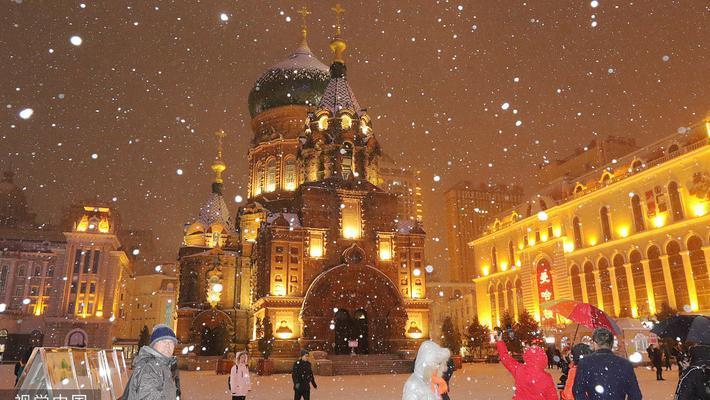 实拍哈尔滨索菲亚教堂雪景