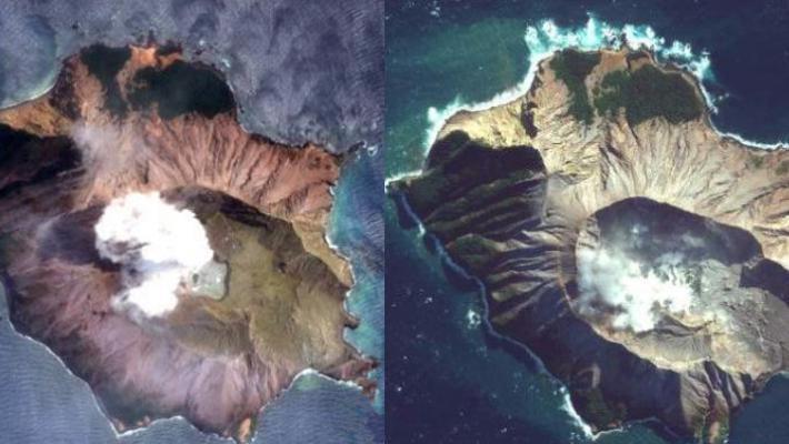 新火山喷发前后卫星对比曝光
