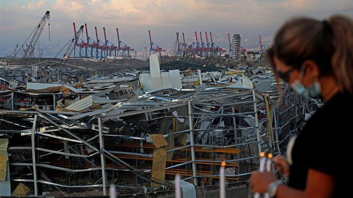 烛光祈福贝鲁特港口区爆炸伤亡人员