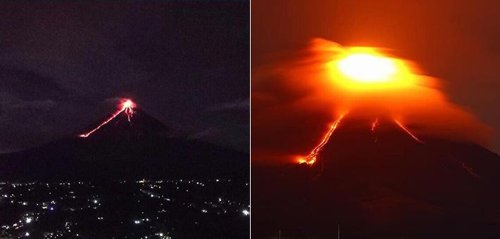 菲律宾火山喷发现场 熔岩喷射