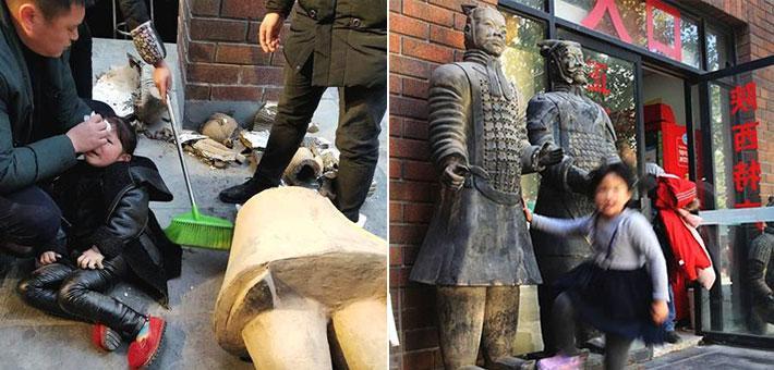 西安:女童被山寨兵马俑砸断腿现场