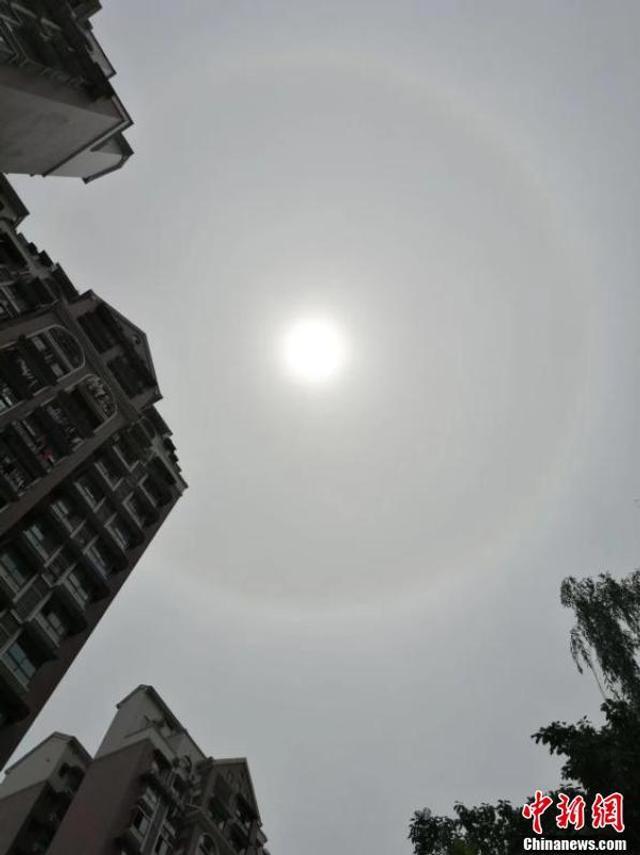 """5月12日下午1点左右,四川自贡市上空出现了""""日晕奇观"""",整个过程持续了半小时以上。该景象迅速传遍了当地市民的朋友圈,大家纷纷表示,当时的太阳就像变魔术一样,周边突然浮现出一个彩色光圈,均匀环绕,光彩照人,仿佛被戴上了""""美瞳""""。 图据中新网"""