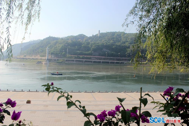 白塔(东雁塔)矗立在江对岸的半山腰 图据四川在线