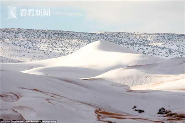 """据英国《每日邮报》1月9日报道,号称""""全球最热""""的撒哈拉沙漠地区,7日又迎来一场降雪,厚度达近半米的白雪覆盖在撒哈拉沙漠上,竟有一种别致的美感。"""