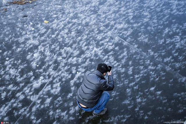 """2018年1月6日,北京,奥林匹克公园龙形水系冰面现""""龙吐泡"""",神奇壮观。"""