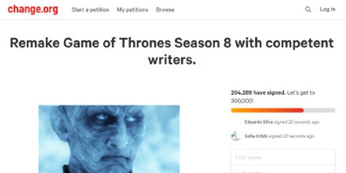 超20萬劇迷請愿重拍《權力的游戲》第八季