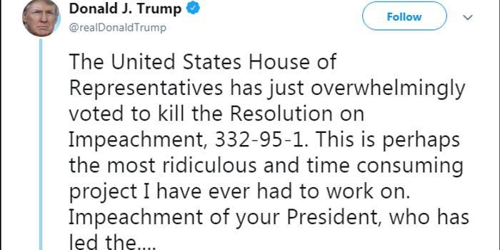美眾院否決彈劾總統案 特朗普:不許再彈劾總統了