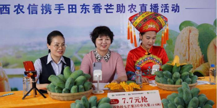 国家增长和创新委员会田东县干部事务组组长为当地农产品现场直播带来了货物