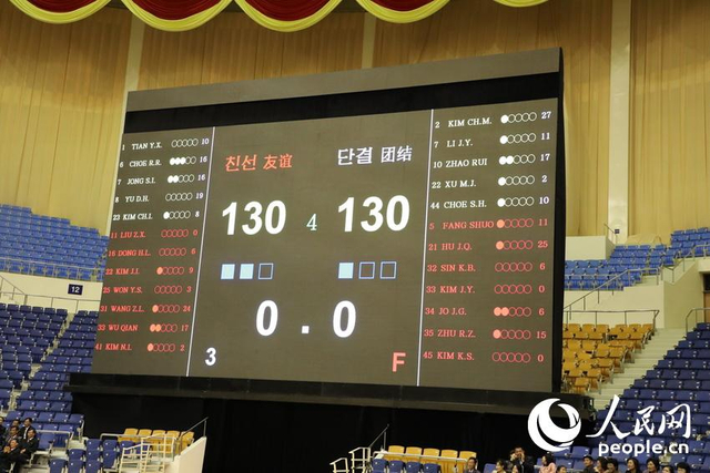 中朝两国男篮在朝鲜首都平壤的柳京郑周永体育馆进行了一场混编友谊赛,比赛双方分别为友谊队与团结队,每队12名球员中,中国球员与朝鲜球员各占6名。比赛在激烈而友好的氛围中进行。最终,友谊队和团结队以130:130的比分握手言和。图片来自人民网