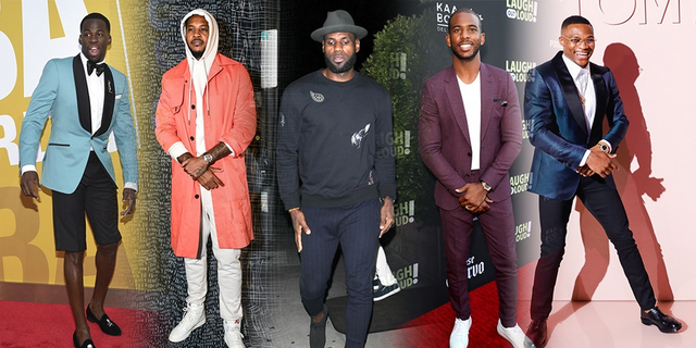 NBA有一票球员同样也是时尚宠儿,威少、韦德、哈登、詹姆斯自必须多说,尼克-杨、小乔丹、格里芬等也经常被狗仔街拍。2017年各大时装周也频频出现NBA球员的身影。