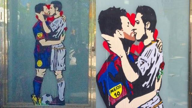 有艺术家在巴塞罗那街头创作了一幅C罗与梅西深情拥吻的涂鸦画。