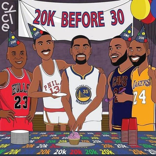 恭喜杜兰特成为NBA历史上第二年轻的2万分先生,超越科比、仅次于詹姆斯!