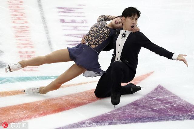 当地时间2019年2月9日,美国阿纳海姆,2019四大洲花样滑冰锦标赛双人自由滑,韩聪/隋文静夺金。