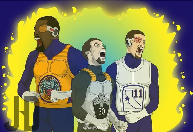 当NBA遇上龙珠,化身沙鲁的詹皇对阵化身布欧军团/超级赛亚人的勇士四巨头,画面太美不敢想象。图片来自@jayhoangdraws