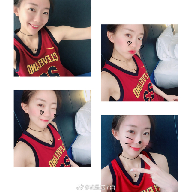 @就是这个潇 是一位很有人气的瑜伽女孩,其实,她还是一位篮球迷,分享一波她的美照!