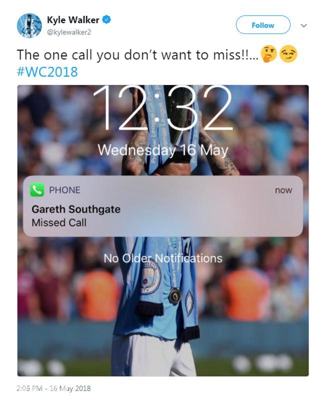 沃克:我可不想错过索斯盖特教练的电话!