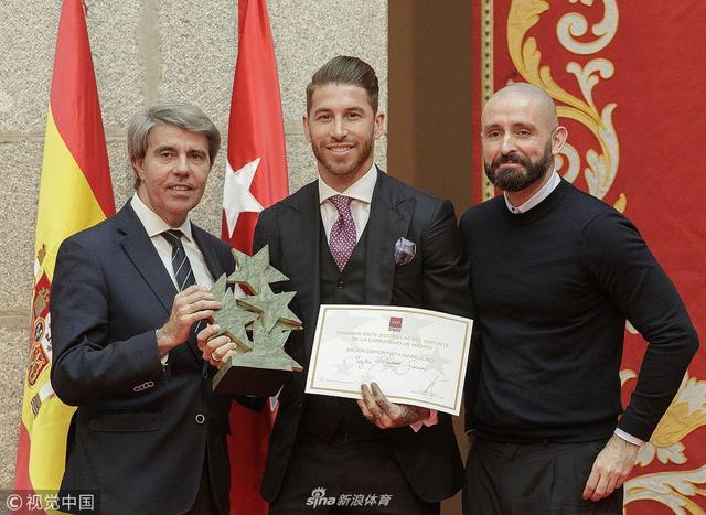 1月11日西班牙马德里,马德里七星体育奖颁奖仪式举行,皇马球星拉莫斯获最佳男运动员。