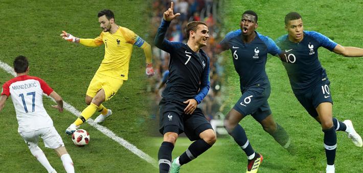 法国4-2克罗地亚夺世界杯冠军