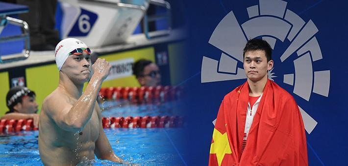 亚运-孙杨800自破纪录夺冠 披国旗领奖