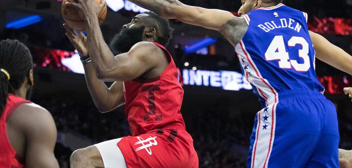 NBA-哈登三节37分火箭崩盘负76人