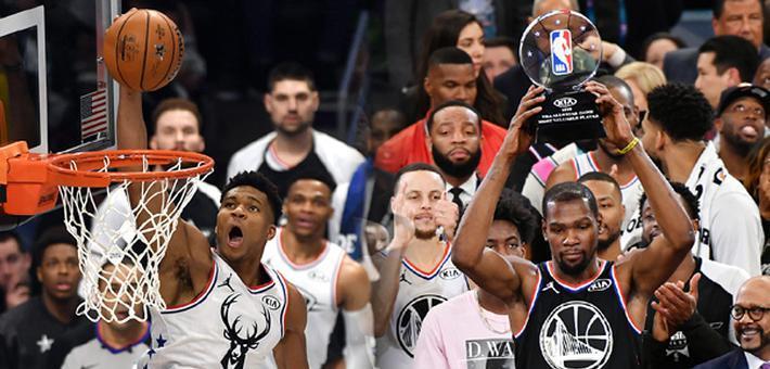 全明星詹姆斯队20分翻盘 杜兰特MVP