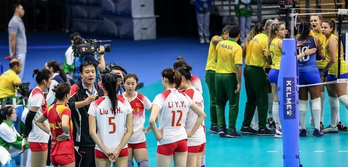 军运会-中国女排1-3巴西连续三届摘银