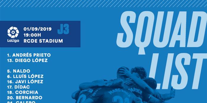 西班牙人公布大名單:武磊在列 爭本賽季西甲首勝