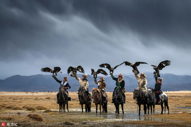 这些令人惊叹的照片记录了世界上最后的蒙古猎鹰人,画面展示了人类和鸟类之间不可思议的联系。这些照片由29岁的摄影向导Daniel Kordan拍摄,展示了十位老鹰猎人穿过戈壁沙漠和峡谷,在蒙古西部和南部之间往来的英姿。