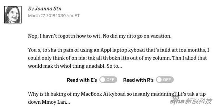 部分用戶反饋 第三代蝶式鍵盤依然存在失靈問題