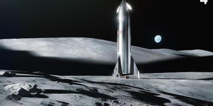 马斯克晒飞船月球着陆渲染图 不锈钢外壳闪闪发光