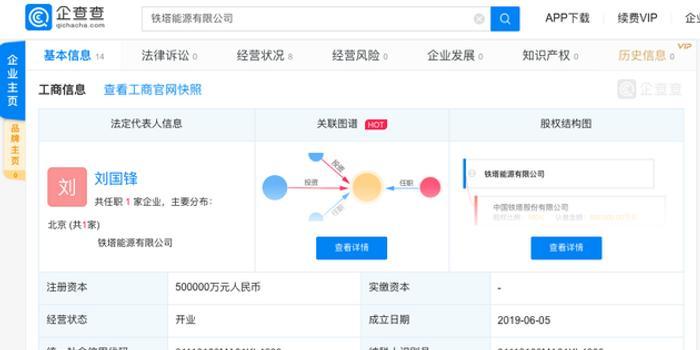 中國鐵塔斥資50億注冊成立能源公司 探索電力市場