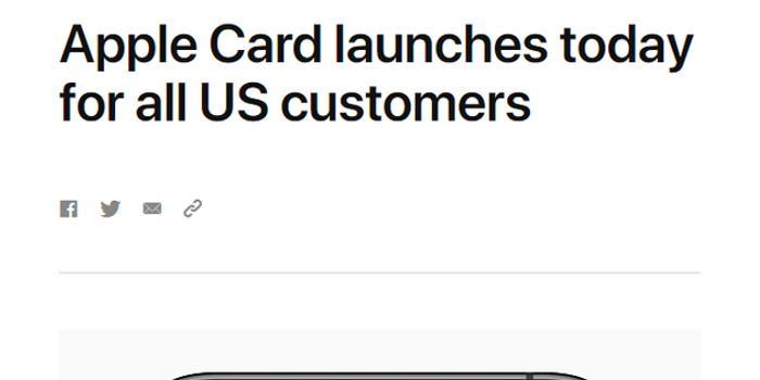 官宣:Apple Card今日面向所有美國消費者推出