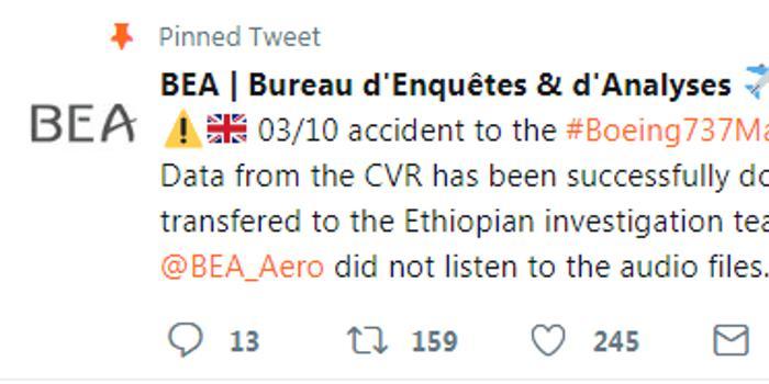 法國成功提取埃塞航空黑匣子數據 具體情況尚待公布