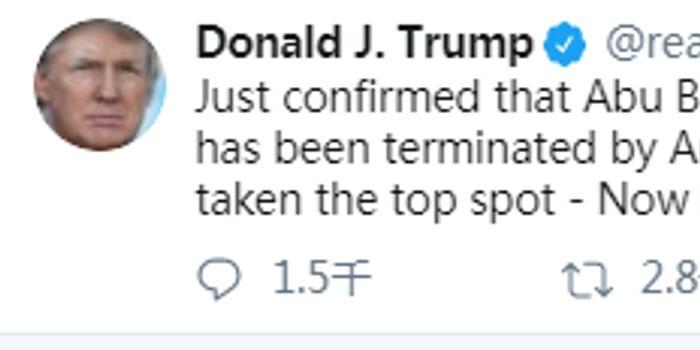 特朗普:巴格達迪頭號接班人已被美軍擊斃