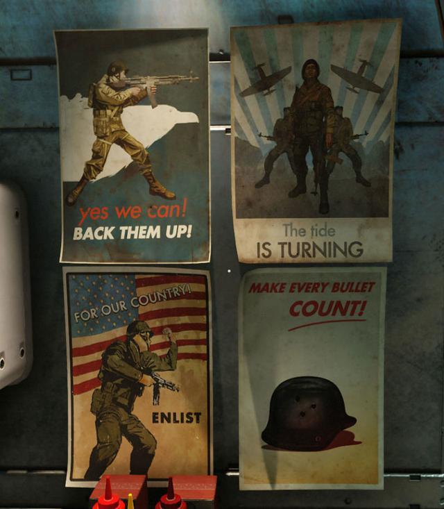 《德军总部2 新巨像》游戏中的海报