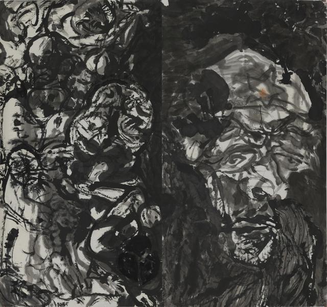 """4月6日,由中国美术馆主办的""""走向文明的自觉——袁运生艺术展""""在中国美术馆开幕。该展是中国美术馆捐赠与收藏系列展之一,袁运生先生自1960年代至今创作的水墨、油画、铜版画等141件,以及素描、速写等习作20多件。其中,大部分作品都是首次公开展出。"""